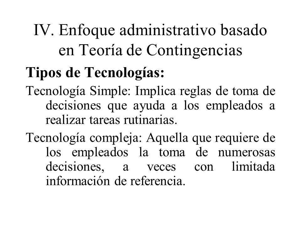 IV.Enfoque administrativo basado en Teoría de Contingencias Tipos de Tecnologías: Tecnología Simple: Implica reglas de toma de decisiones que ayuda a
