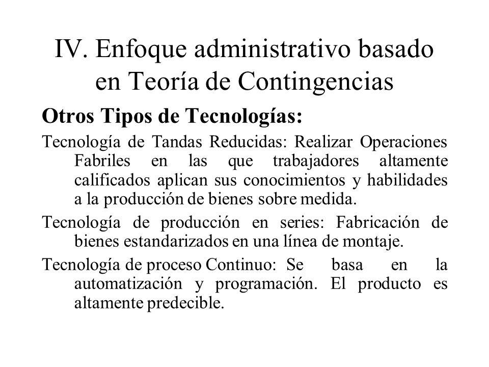 IV.Enfoque administrativo basado en Teoría de Contingencias Otros Tipos de Tecnologías: Tecnología de Tandas Reducidas: Realizar Operaciones Fabriles