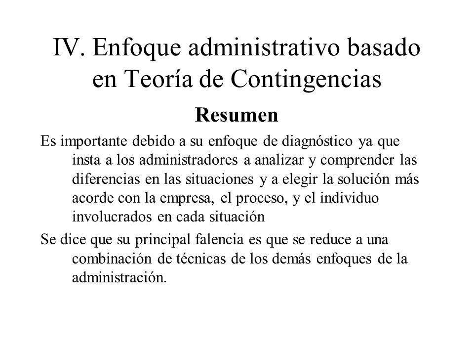IV.Enfoque administrativo basado en Teoría de Contingencias Resumen Es importante debido a su enfoque de diagnóstico ya que insta a los administradore