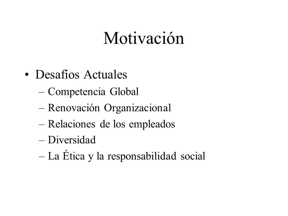 Motivación Desafíos Actuales –Competencia Global –Renovación Organizacional –Relaciones de los empleados –Diversidad –La Ética y la responsabilidad so