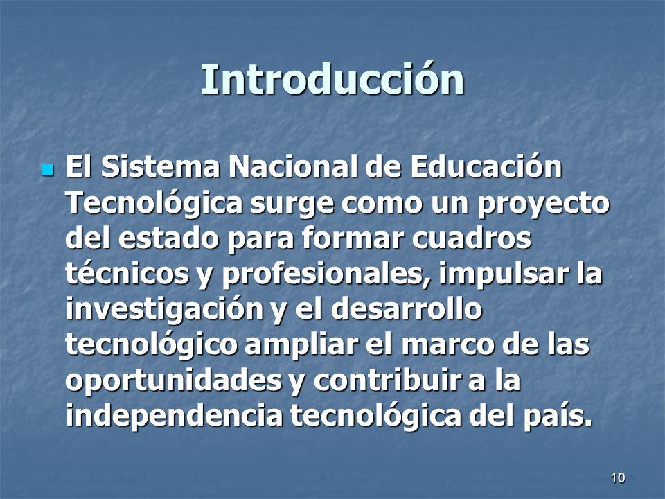 10 Introducción El Sistema Nacional de Educación Tecnológica surge como un proyecto del estado para formar cuadros técnicos y profesionales, impulsar