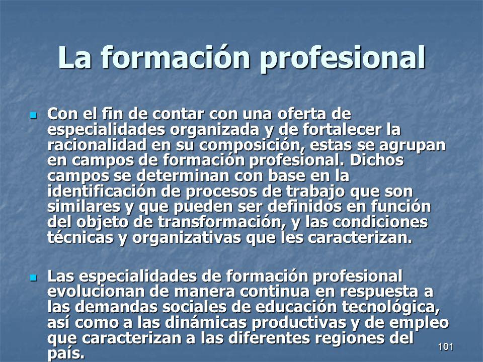 101 La formación profesional Con el fin de contar con una oferta de especialidades organizada y de fortalecer la racionalidad en su composición, estas