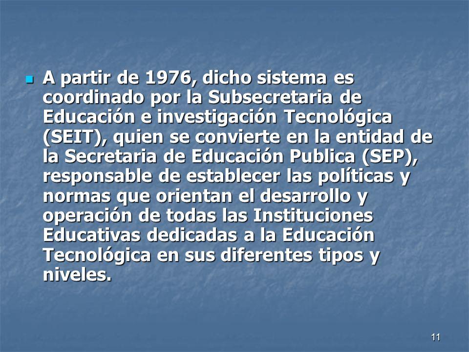 11 A partir de 1976, dicho sistema es coordinado por la Subsecretaria de Educación e investigación Tecnológica (SEIT), quien se convierte en la entida