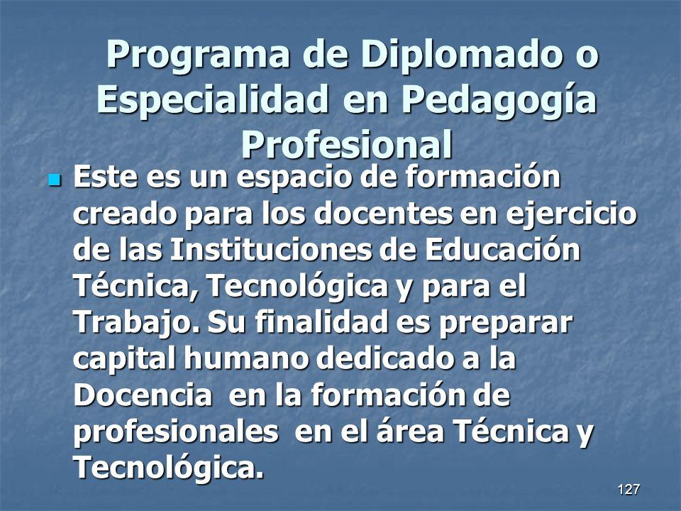 127 Programa de Diplomado o Especialidad en Pedagogía Profesional Programa de Diplomado o Especialidad en Pedagogía Profesional Este es un espacio de