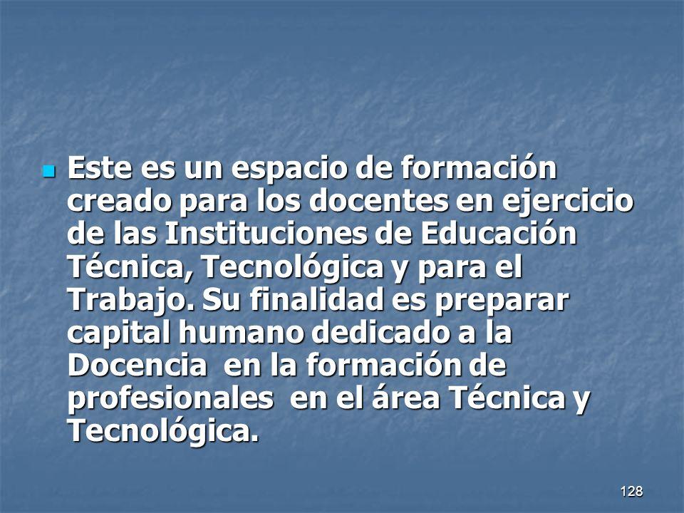 128 Este es un espacio de formación creado para los docentes en ejercicio de las Instituciones de Educación Técnica, Tecnológica y para el Trabajo. Su
