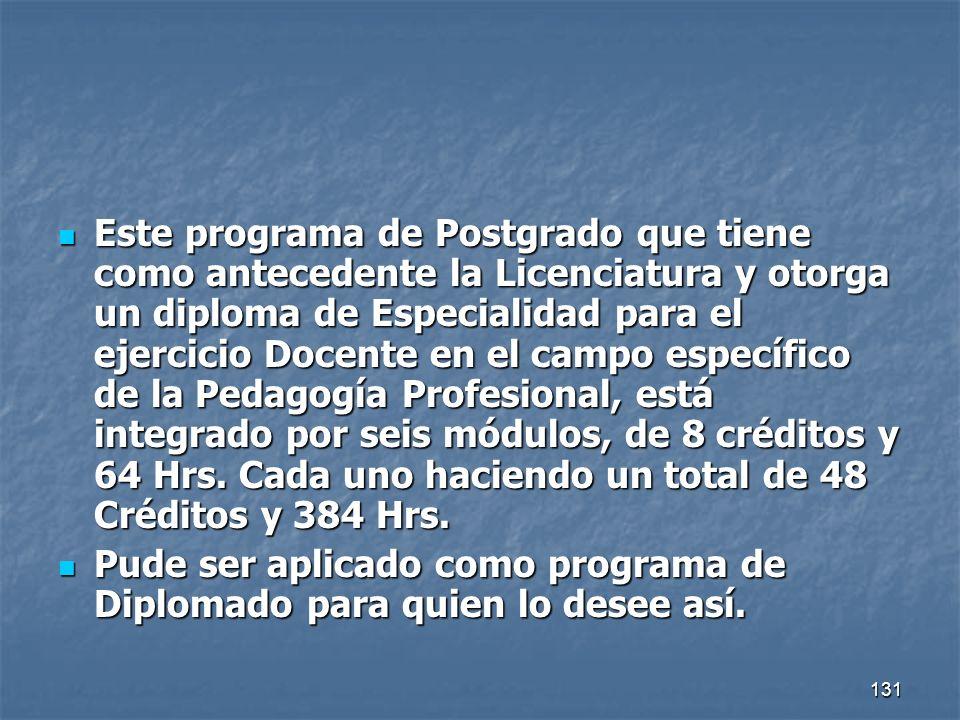 131 Este programa de Postgrado que tiene como antecedente la Licenciatura y otorga un diploma de Especialidad para el ejercicio Docente en el campo es