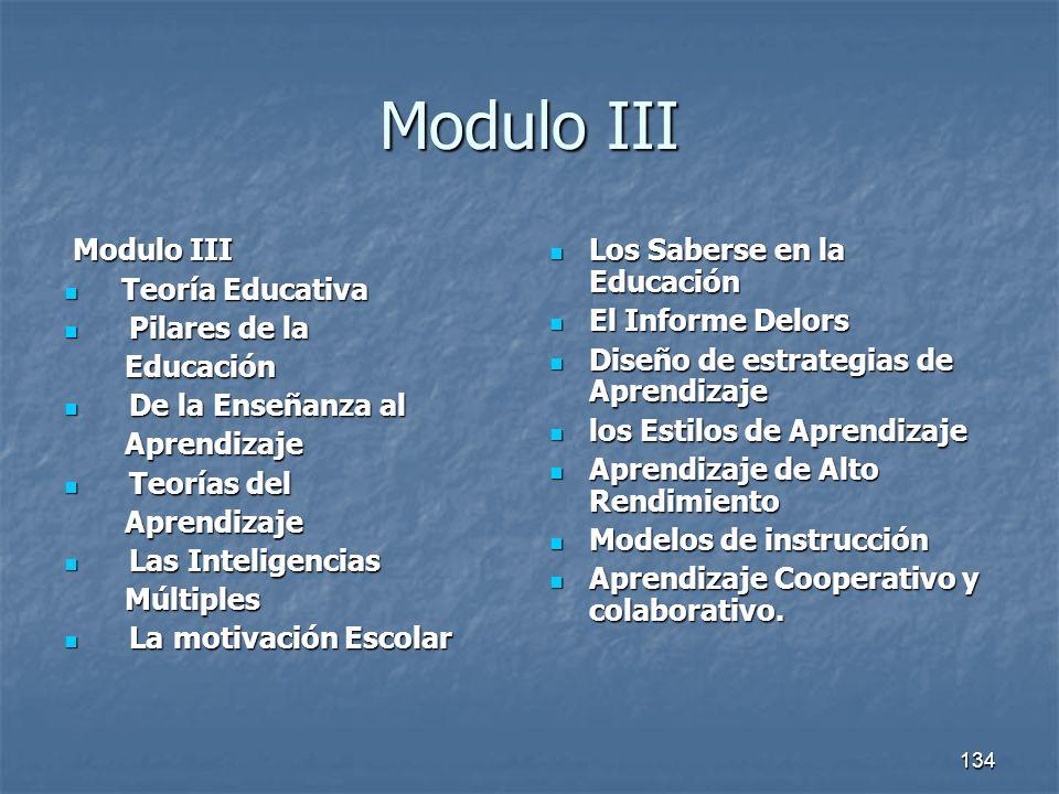 134 Modulo III Modulo III Modulo III Teoría Educativa Teoría Educativa Pilares de la Pilares de la Educación Educación De la Enseñanza al De la Enseña
