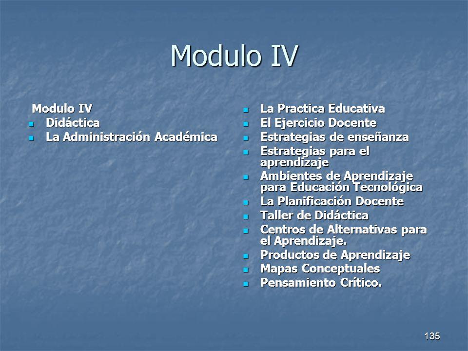 135 Modulo IV Modulo IV Modulo IV Didáctica Didáctica La Administración Académica La Administración Académica La Practica Educativa La Practica Educat