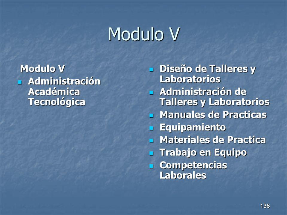 136 Modulo V Modulo V Modulo V Administración Académica Tecnológica Administración Académica Tecnológica Diseño de Talleres y Laboratorios Diseño de T