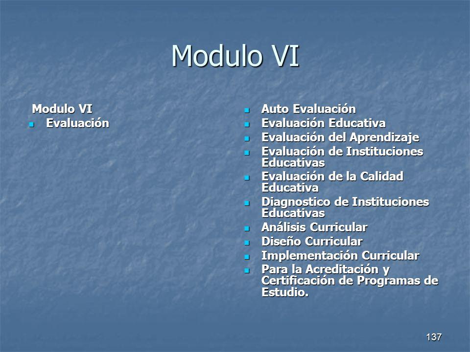 138 Modulo VI Modulo VI Modulo VI Evaluación Evaluación Auto Evaluación Auto Evaluación Evaluación Educativa Evaluación Educativa Evaluación del Aprendizaje Evaluación del Aprendizaje Evaluación de Instituciones Educativas Evaluación de Instituciones Educativas Evaluación de la Calidad Educativa Evaluación de la Calidad Educativa Diagnostico de Instituciones Educativas Diagnostico de Instituciones Educativas Análisis Curricular Análisis Curricular Diseño Curricular Diseño Curricular Implementación Curricular Implementación Curricular Para la Acreditación y Certificación de Programas de Estudio.