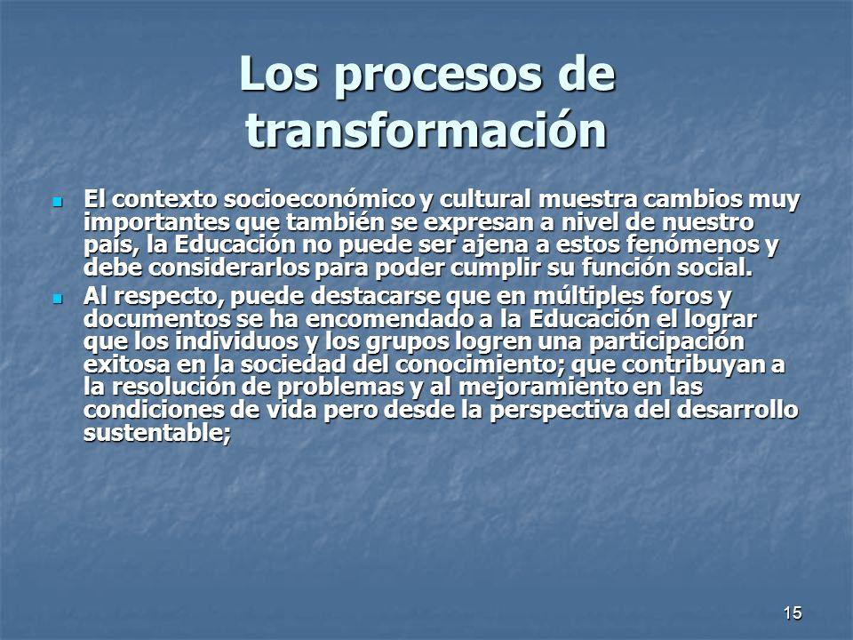 15 Los procesos de transformación El contexto socioeconómico y cultural muestra cambios muy importantes que también se expresan a nivel de nuestro paí