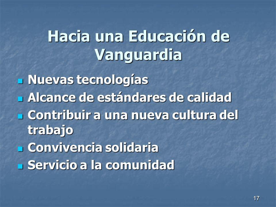 17 Hacia una Educación de Vanguardia Nuevas tecnologías Nuevas tecnologías Alcance de estándares de calidad Alcance de estándares de calidad Contribui