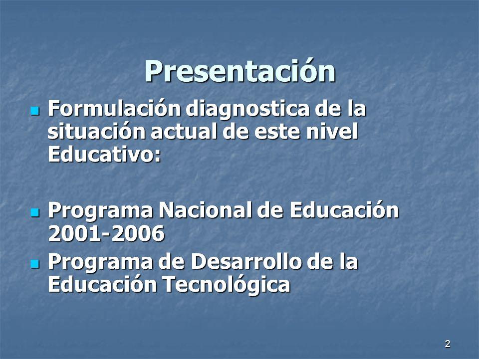 2 Presentación Formulación diagnostica de la situación actual de este nivel Educativo: Formulación diagnostica de la situación actual de este nivel Ed