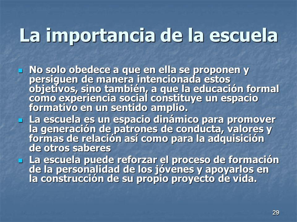 29 La importancia de la escuela No solo obedece a que en ella se proponen y persiguen de manera intencionada estos objetivos, sino también, a que la e