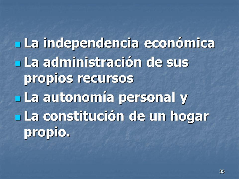 33 La independencia económica La independencia económica La administración de sus propios recursos La administración de sus propios recursos La autono