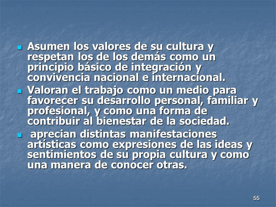 55 Asumen los valores de su cultura y respetan los de los demás como un principio básico de integración y convivencia nacional e internacional. Asumen