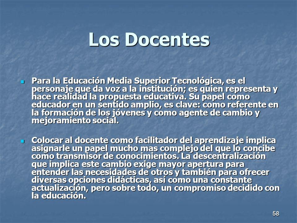 58 Los Docentes Para la Educación Media Superior Tecnológica, es el personaje que da voz a la institución; es quien representa y hace realidad la prop