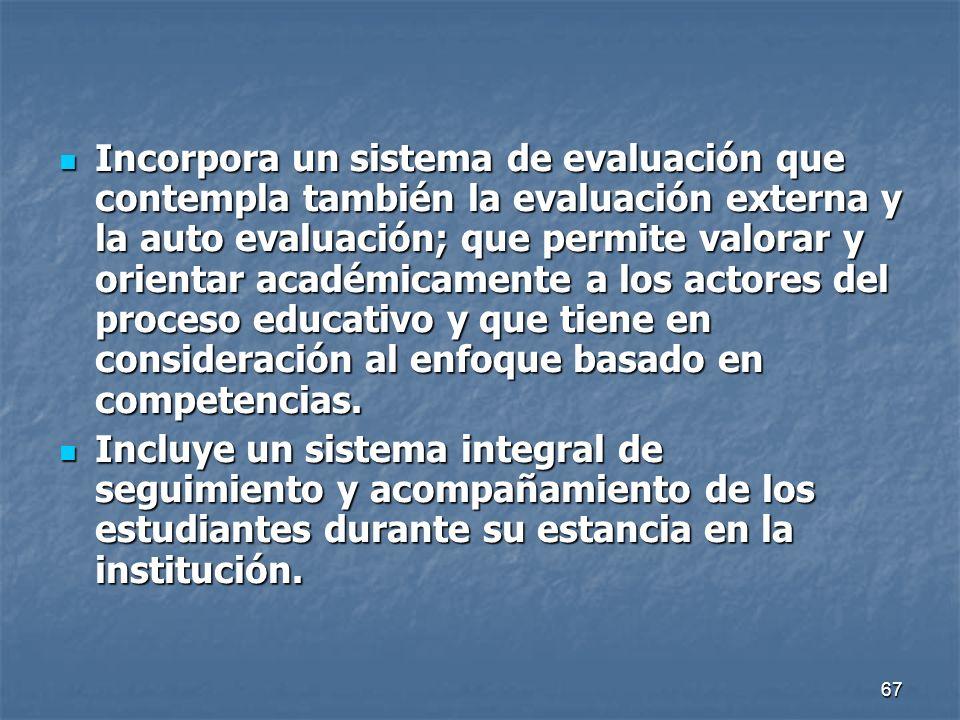 67 Incorpora un sistema de evaluación que contempla también la evaluación externa y la auto evaluación; que permite valorar y orientar académicamente