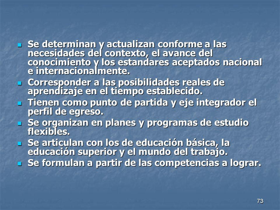 73 Se determinan y actualizan conforme a las necesidades del contexto, el avance del conocimiento y los estandares aceptados nacional e internacionalm