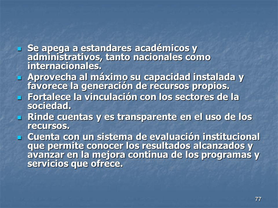 77 Se apega a estandares académicos y administrativos, tanto nacionales como internacionales. Se apega a estandares académicos y administrativos, tant