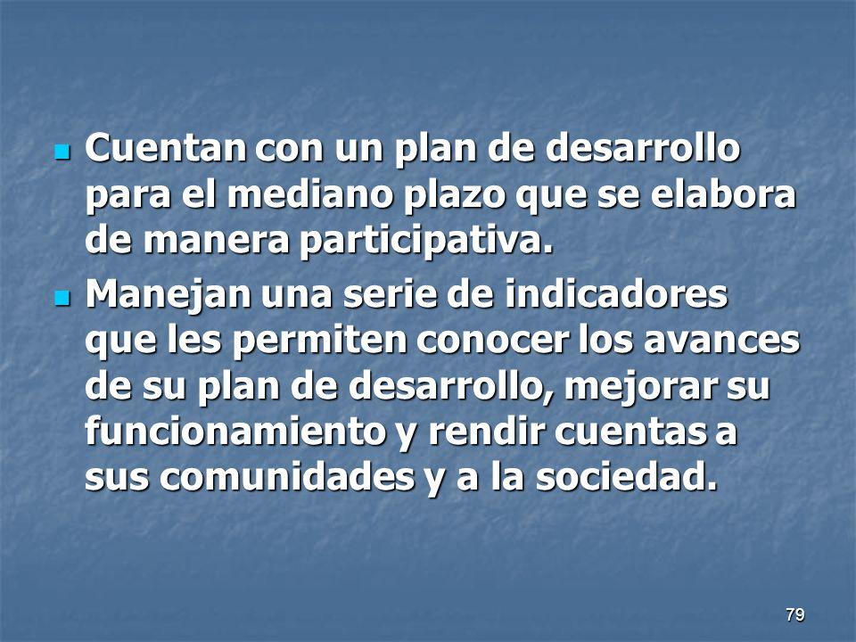 79 Cuentan con un plan de desarrollo para el mediano plazo que se elabora de manera participativa. Cuentan con un plan de desarrollo para el mediano p