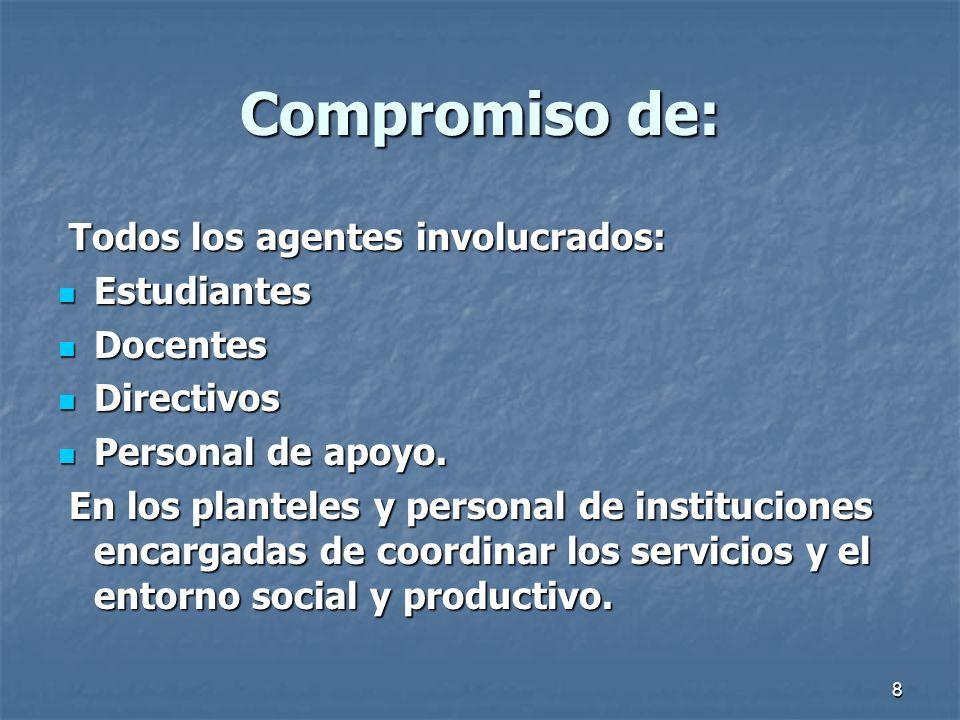8 Compromiso de: Todos los agentes involucrados: Todos los agentes involucrados: Estudiantes Estudiantes Docentes Docentes Directivos Directivos Perso