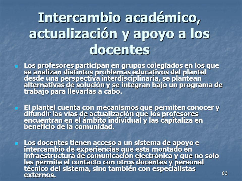 83 Intercambio académico, actualización y apoyo a los docentes Los profesores participan en grupos colegiados en los que se analizan distintos problem