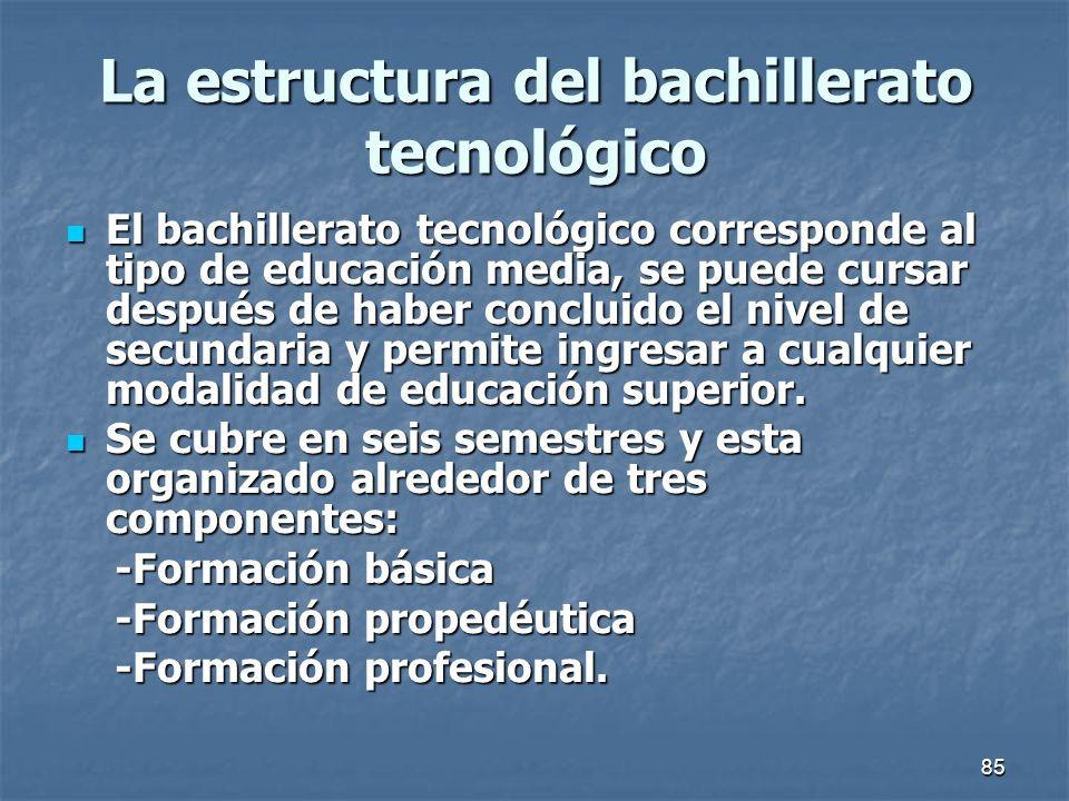 85 La estructura del bachillerato tecnológico El bachillerato tecnológico corresponde al tipo de educación media, se puede cursar después de haber con
