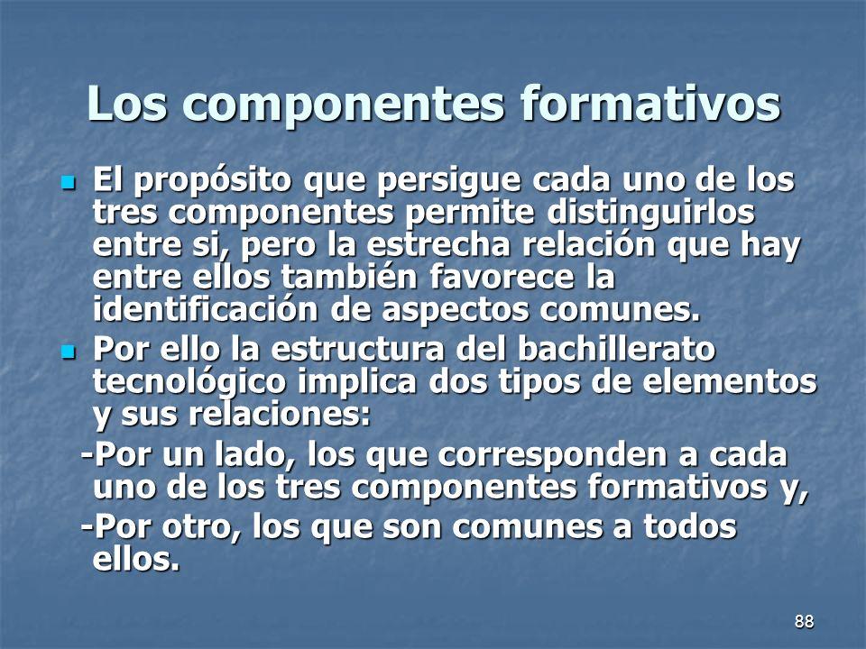 88 Los componentes formativos El propósito que persigue cada uno de los tres componentes permite distinguirlos entre si, pero la estrecha relación que