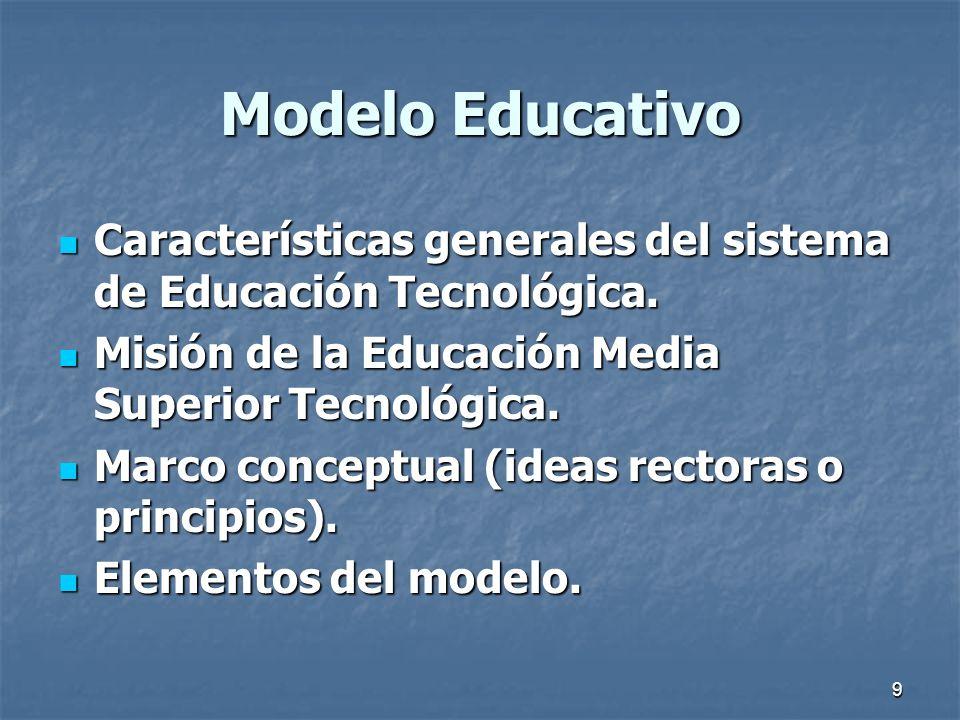 9 Modelo Educativo Características generales del sistema de Educación Tecnológica. Características generales del sistema de Educación Tecnológica. Mis