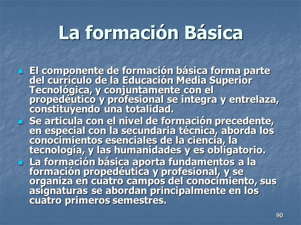 90 La formación Básica El componente de formación básica forma parte del currículo de la Educación Media Superior Tecnológica, y conjuntamente con el