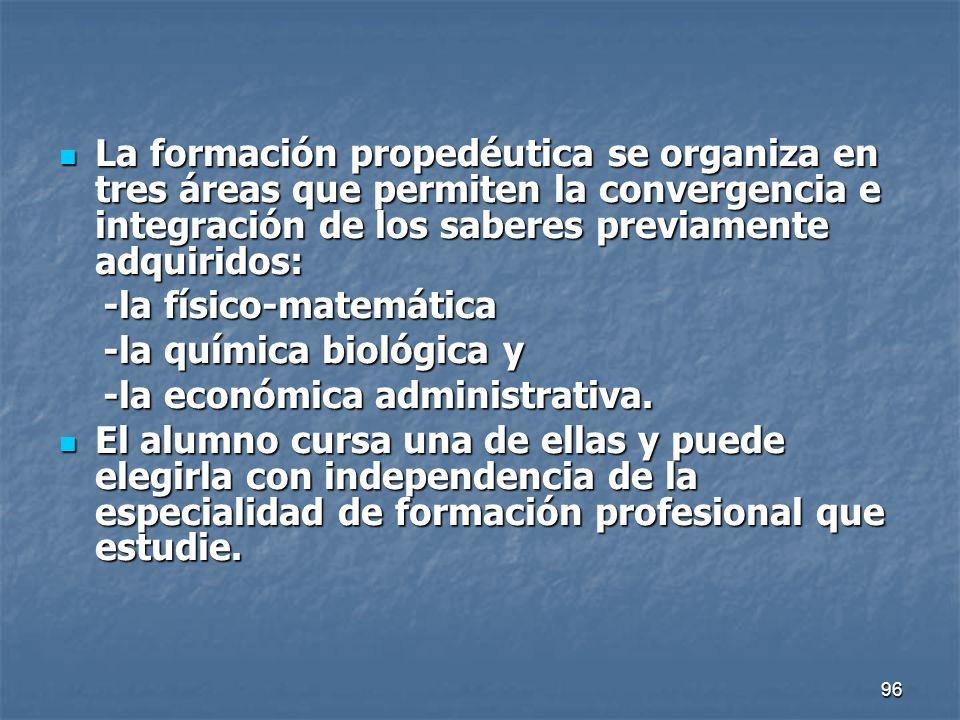 96 La formación propedéutica se organiza en tres áreas que permiten la convergencia e integración de los saberes previamente adquiridos: La formación