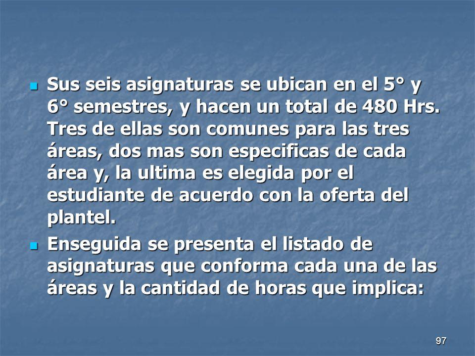 97 Sus seis asignaturas se ubican en el 5° y 6° semestres, y hacen un total de 480 Hrs. Tres de ellas son comunes para las tres áreas, dos mas son esp