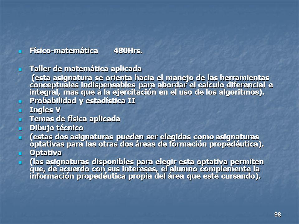 98 Físico-matemática 480Hrs. Físico-matemática 480Hrs. Taller de matemática aplicada Taller de matemática aplicada (esta asignatura se orienta hacia e