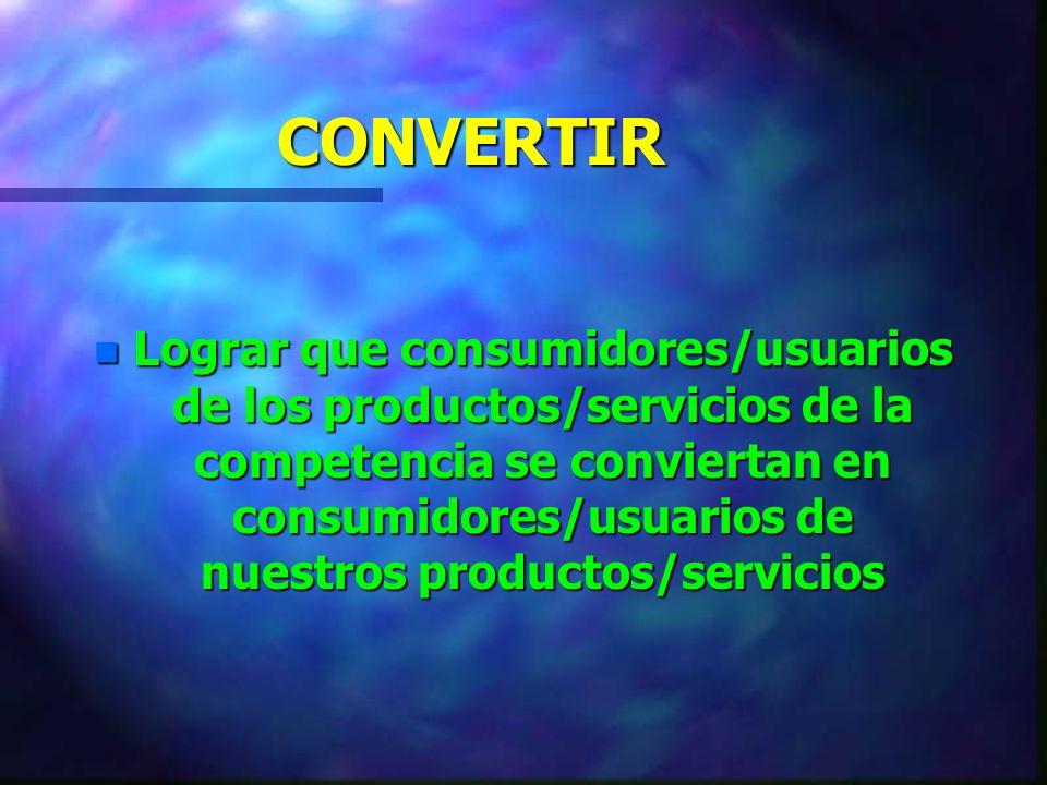ATRAER n Lograr que consumidores/usuarios que está utilizando productos/servicios pertenecientes a otros mercados sean atraídos hacia nuestro mercado y hacia nuestro Producto/servicio.