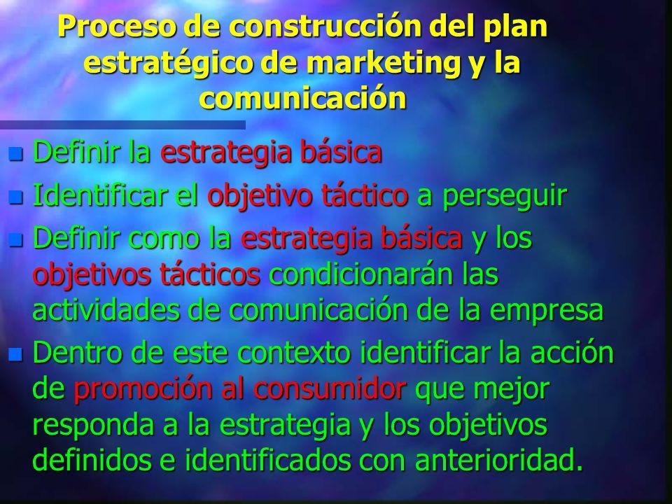Proceso de construcción del plan estratégico de marketing y la comunicación n Definir la estrategia básica n Identificar el objetivo táctico a persegu