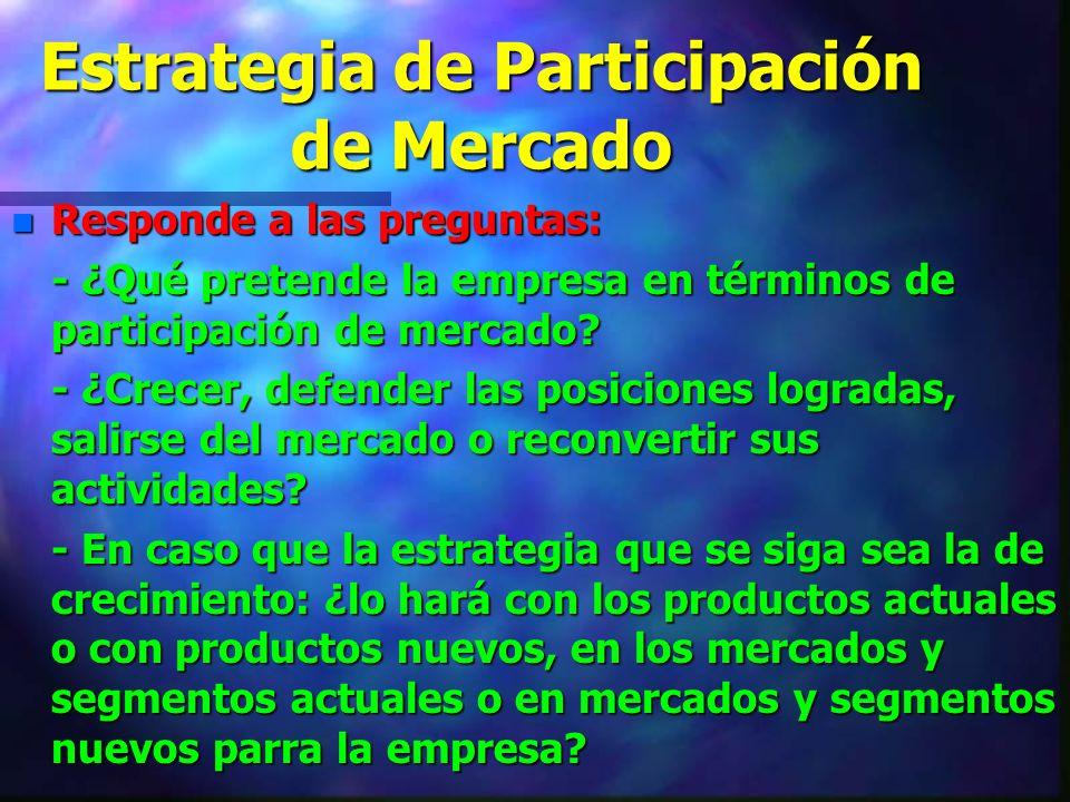 Estrategia de Participación de Mercado n Responde a las preguntas: - ¿Qué pretende la empresa en términos de participación de mercado? - ¿Crecer, defe
