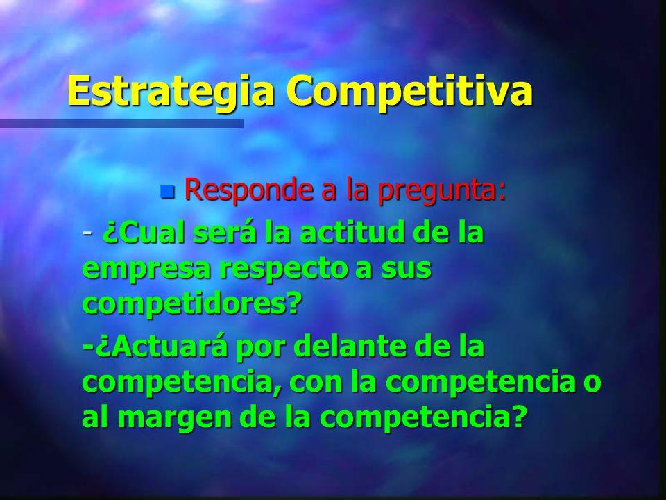 Estrategia Competitiva n Responde a la pregunta: - ¿Cual será la actitud de la empresa respecto a sus competidores? -¿Actuará por delante de la compet