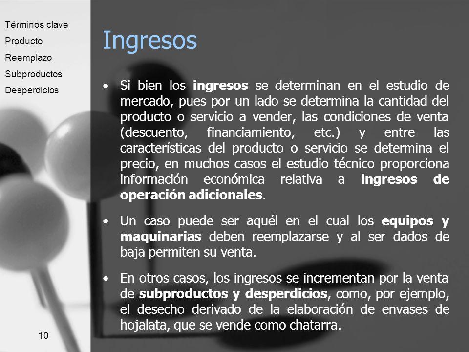 10 Ingresos Si bien los ingresos se determinan en el estudio de mercado, pues por un lado se determina la cantidad del producto o servicio a vender, l