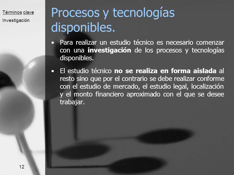 12 Procesos y tecnologías disponibles. Para realizar un estudio técnico es necesario comenzar con una investigación de los procesos y tecnologías disp
