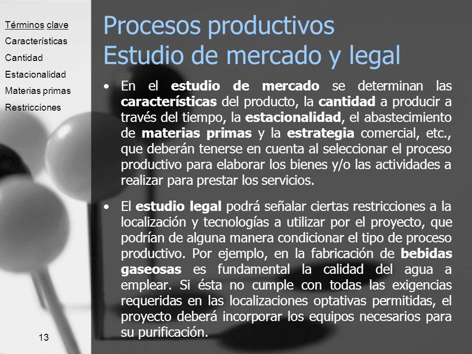 13 Procesos productivos Estudio de mercado y legal En el estudio de mercado se determinan las características del producto, la cantidad a producir a t
