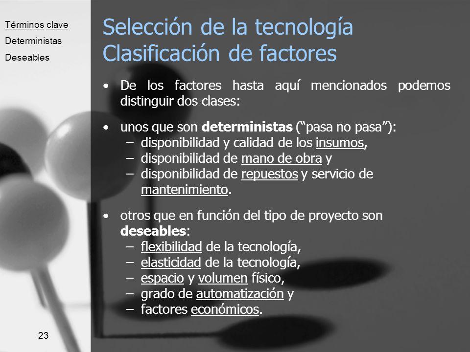 23 Selección de la tecnología Clasificación de factores De los factores hasta aquí mencionados podemos distinguir dos clases: unos que son determinist