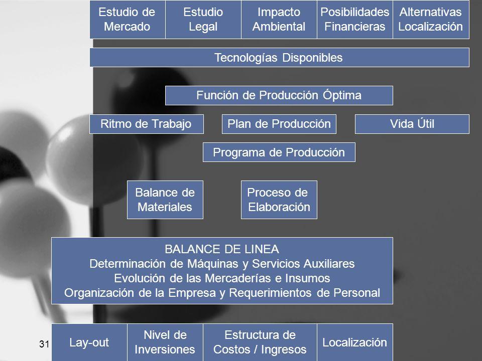 31 Estudio de Mercado Estudio Legal Impacto Ambiental Posibilidades Financieras Alternativas Localización Tecnologías Disponibles Función de Producció