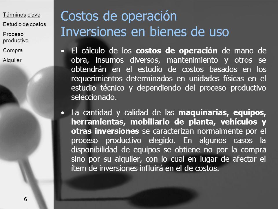 6 Costos de operación Inversiones en bienes de uso El cálculo de los costos de operación de mano de obra, insumos diversos, mantenimiento y otros se o