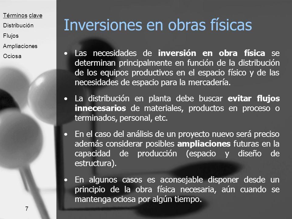 7 Inversiones en obras físicas Las necesidades de inversión en obra física se determinan principalmente en función de la distribución de los equipos p