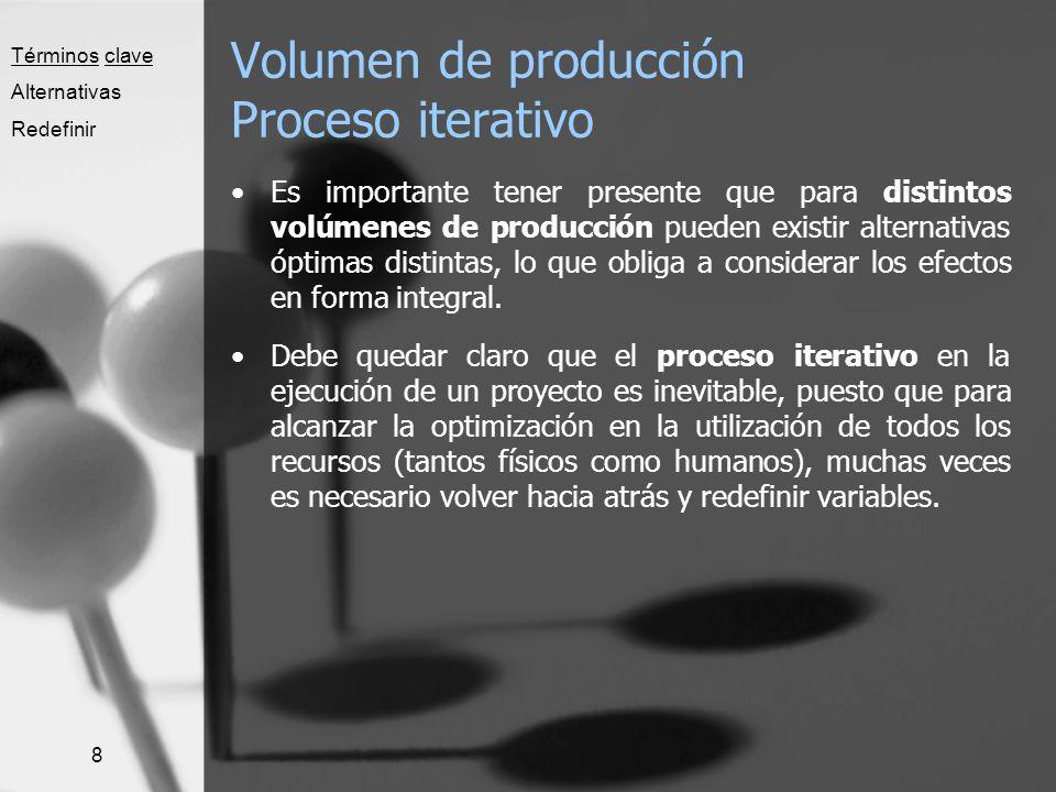 8 Volumen de producción Proceso iterativo Es importante tener presente que para distintos volúmenes de producción pueden existir alternativas óptimas