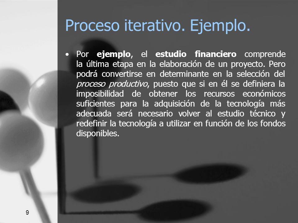 9 Proceso iterativo. Ejemplo. Por ejemplo, el estudio financiero comprende la última etapa en la elaboración de un proyecto. Pero podrá convertirse en