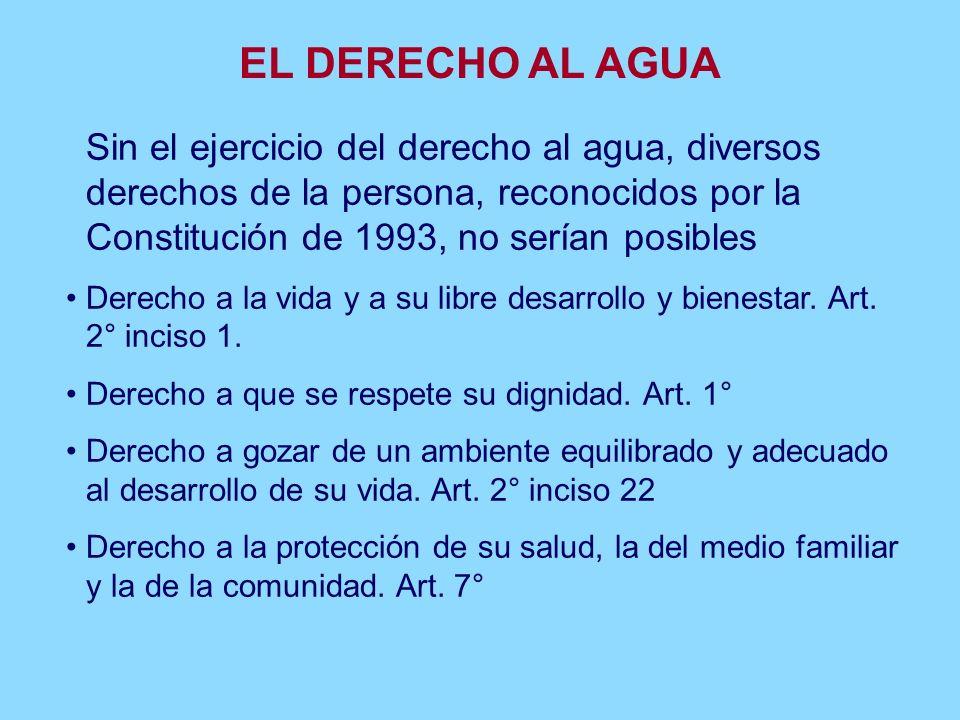 1. EL DERECHO AL AGUA El derecho al agua ha sido reconocido en diversos documentos internacionales Observación general N° 6 (1995) del Comité de Derec