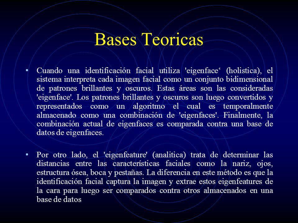 Bases Teoricas Cuando una identificación facial utiliza 'eigenface (holistica), el sistema interpreta cada imagen facial como un conjunto bidimensiona