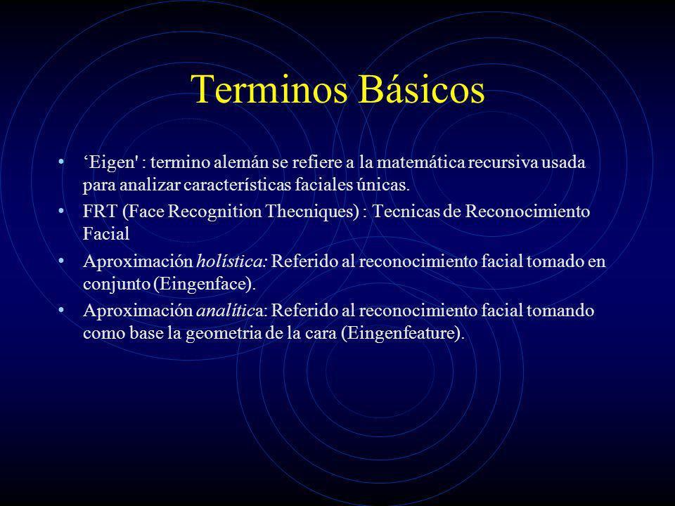 Terminos Básicos Eigen' : termino alemán se refiere a la matemática recursiva usada para analizar características faciales únicas. FRT (Face Recogniti